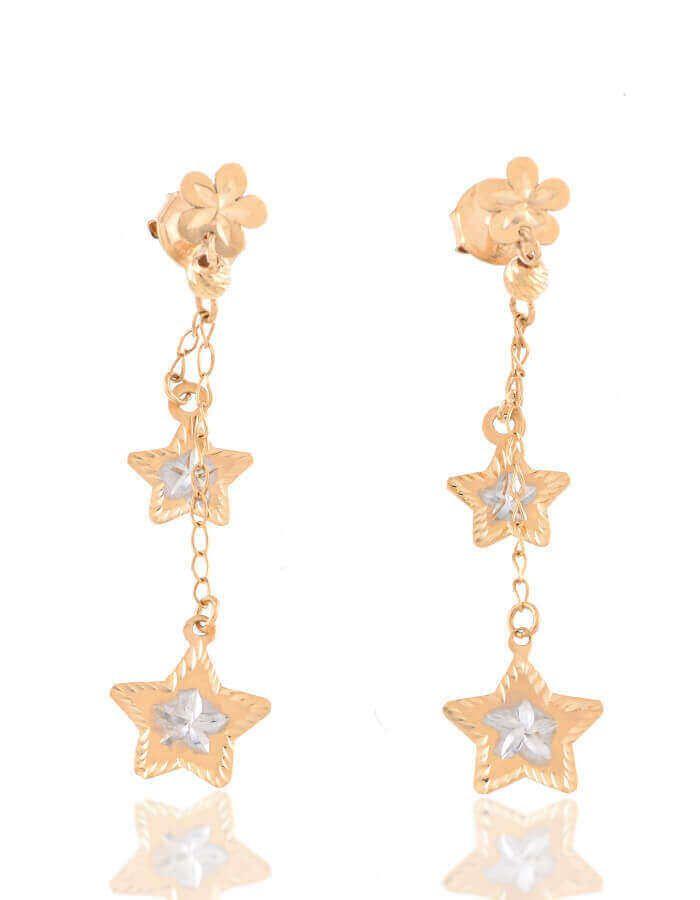 حلق النجمتين، من الذهب الأصفر عيار 18 قيراط