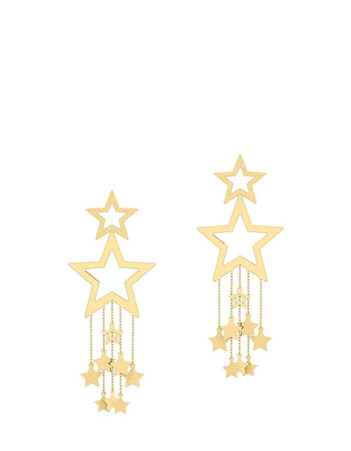 حلق النجوم المتلألأ، من الذهب الأصفر عيار 18 قيراط