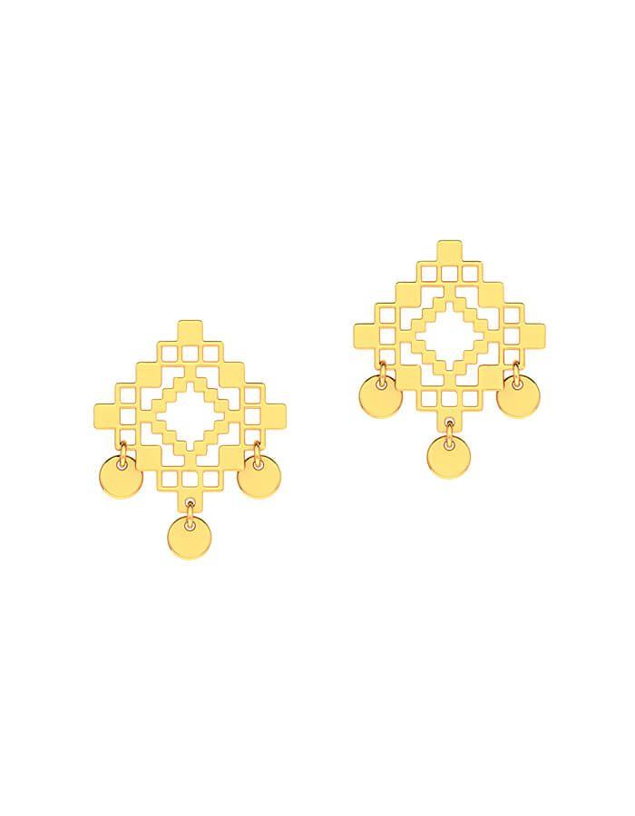 حلق العرض الذهبي من الذهب الأصفر عيار 18 قيراط