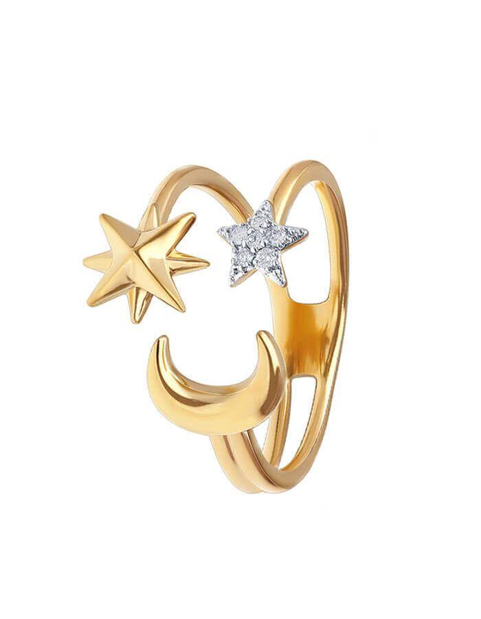 حلم الوصول إلى النجوم، خاتم من الذهب الأصفر عيار 18 قيراط والألماس