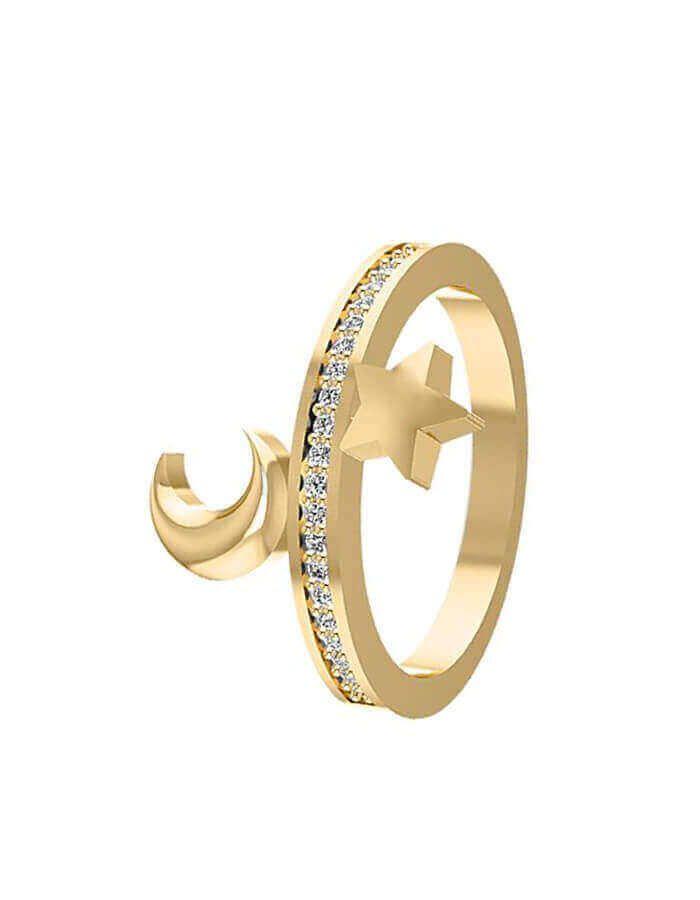 خاتم لقاء ليلي، من الذهب الأصفر عيار 18 قيراط والألماس