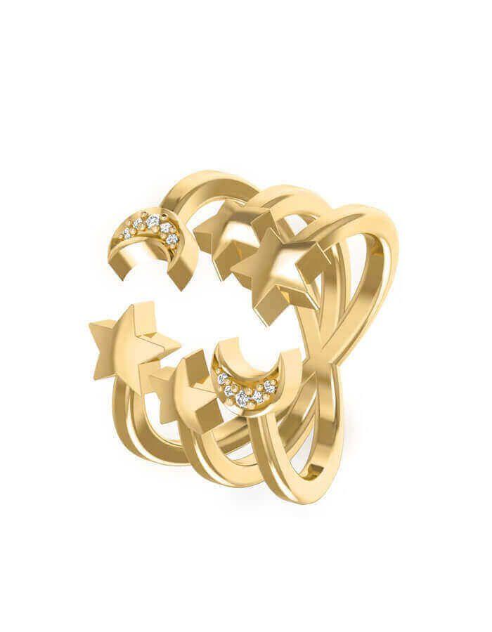 خاتم احتفال في السماء، من الذهب الأصفر عيار 18 قيراط والألماس