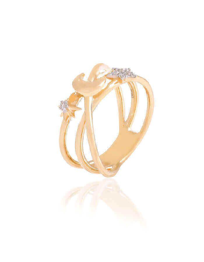 خاتم في فضاء الحب، من الذهب الأصفر عيار 18 قيراط والألماس