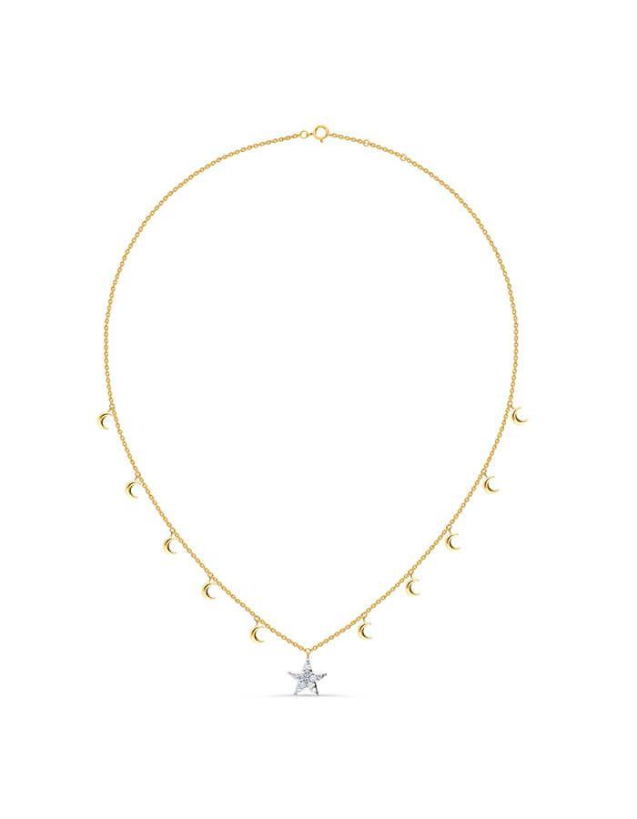 سلسال النجمة البيضاء، من الذهب الأصفر عيار 18 قيراط والألماس