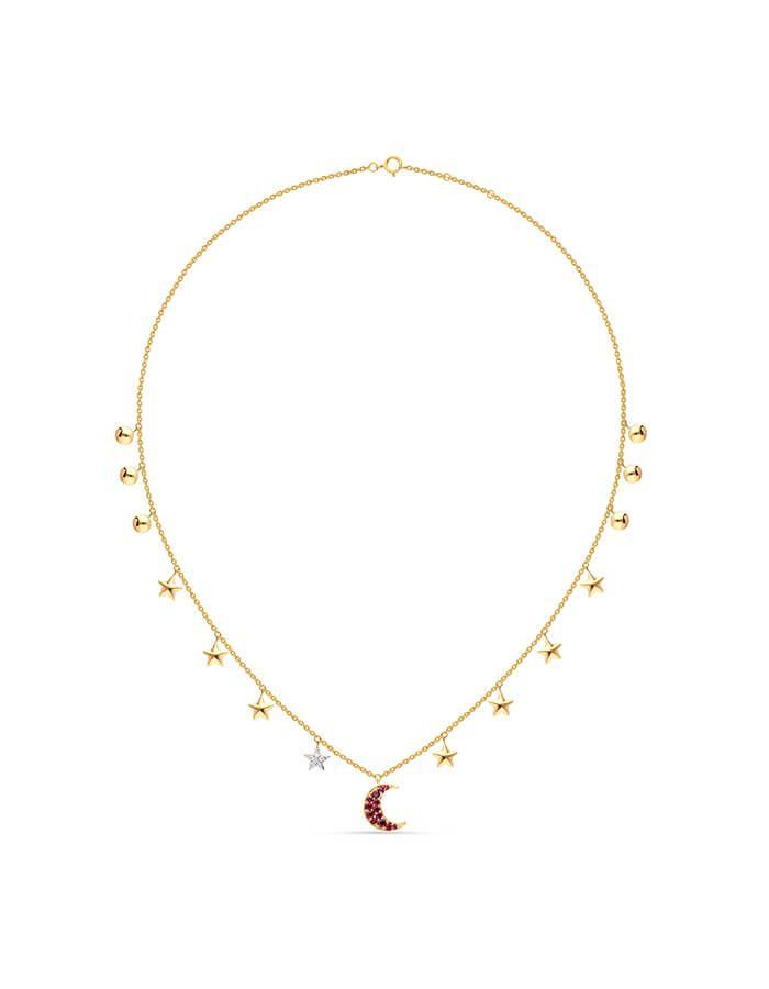 سلسال القمر الوردي، من الذهب الأصفر عيار 18 قيراط وأحجار الياقوت