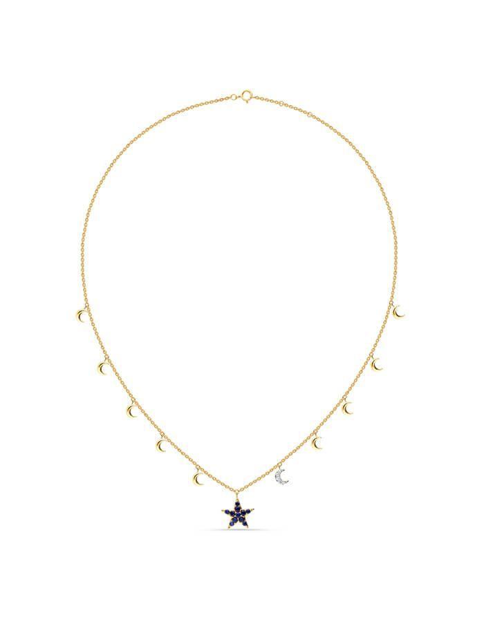 سلسال النجمة الزرقاء، مع حلي متدلية بشكل أقمار، من الذهب الأصفر عيار 18 قيراط وأحجار الزفير