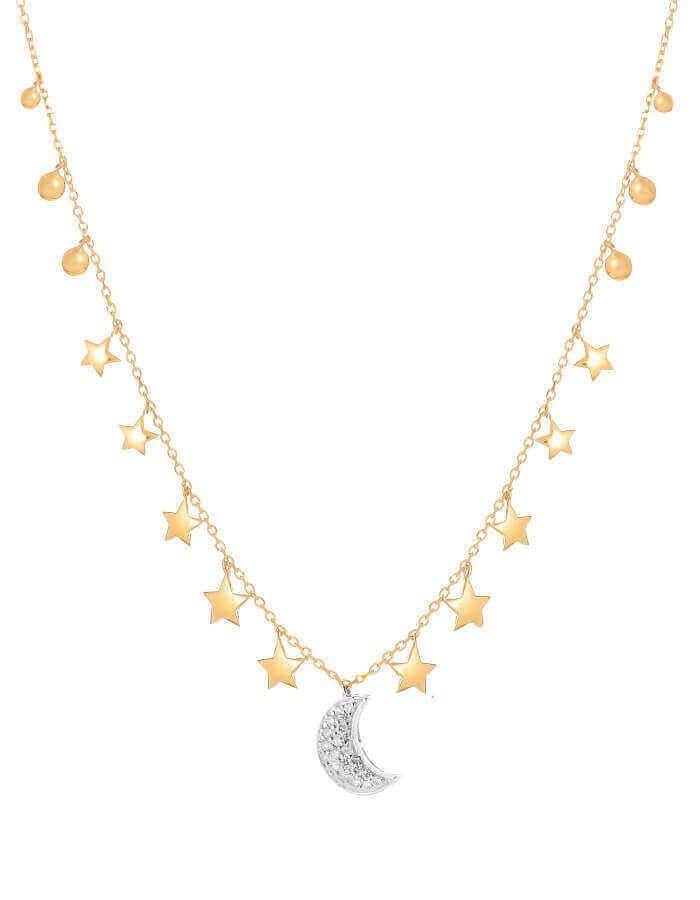 سلسال القمر الأبيض، من الذهب الأصفر عيار 18 قيراط والألماس