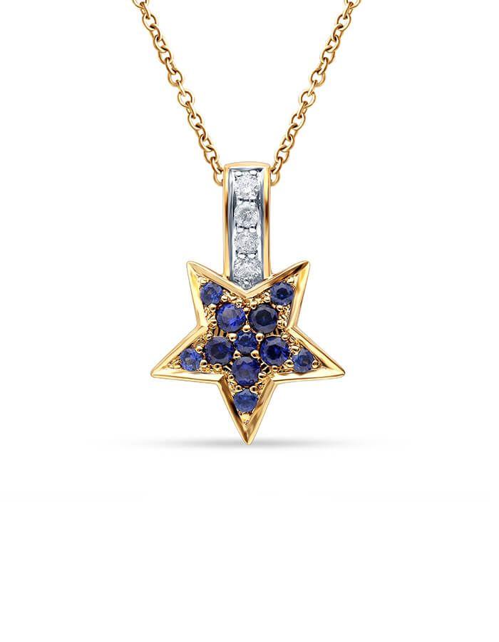 سلسال النجمة الزرقاء، من الذهب الأصفر عيار 18 قيراط وأحجار الصفير