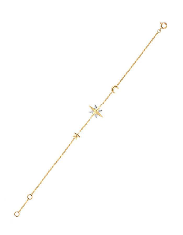 سوار النجوم المذنّبة، من الذهب الأصفر عيار 18 قيراط والألماس