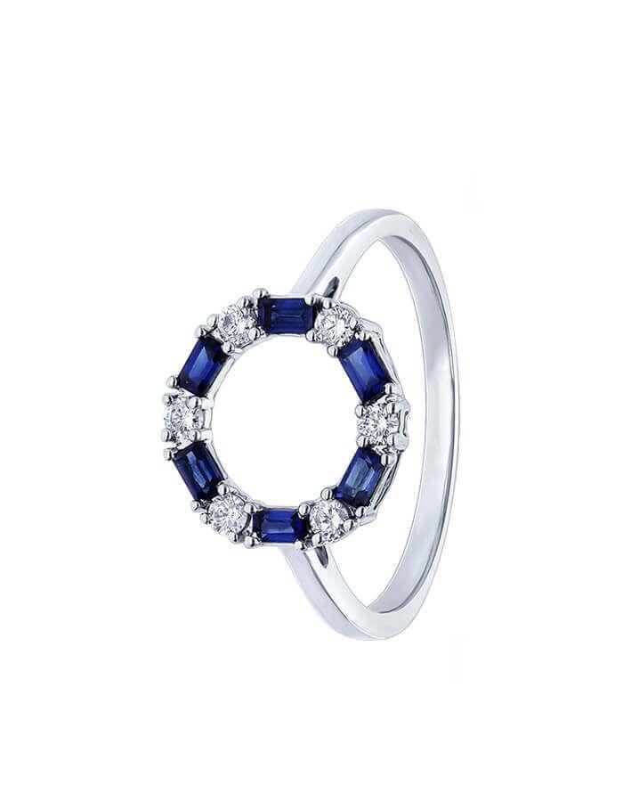 الخاتم الهندسي من العقيق الأزرق من الذهب الأبيض والألماس