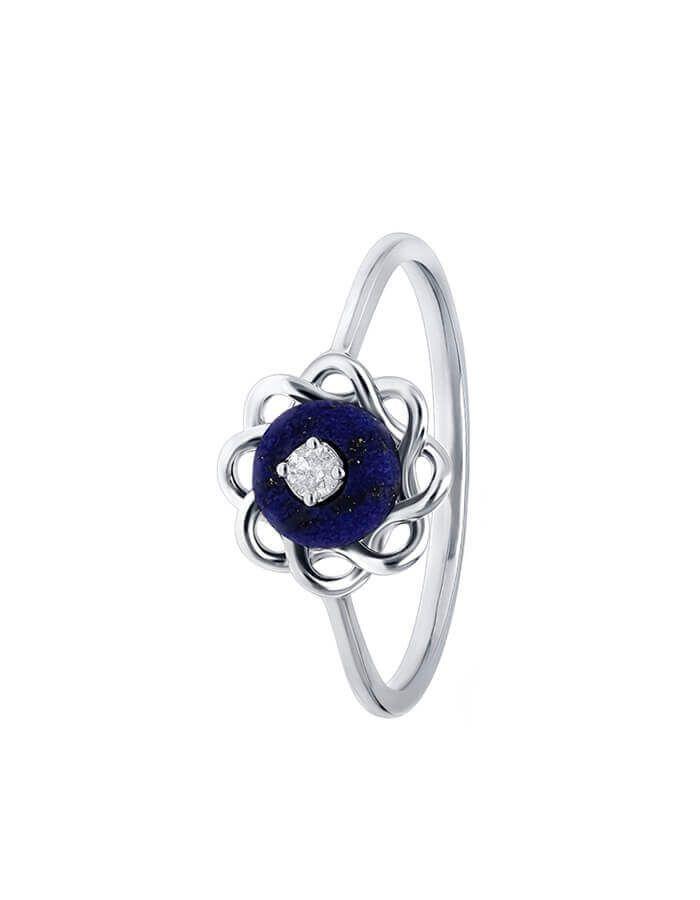 خاتم زهرة العقيق الأزرق من الذهب الأبيض والألماس