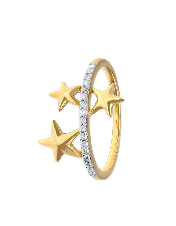 خاتم ليلة ماسية، من الذهب الأصفر عيار 18 قيراط والألماس