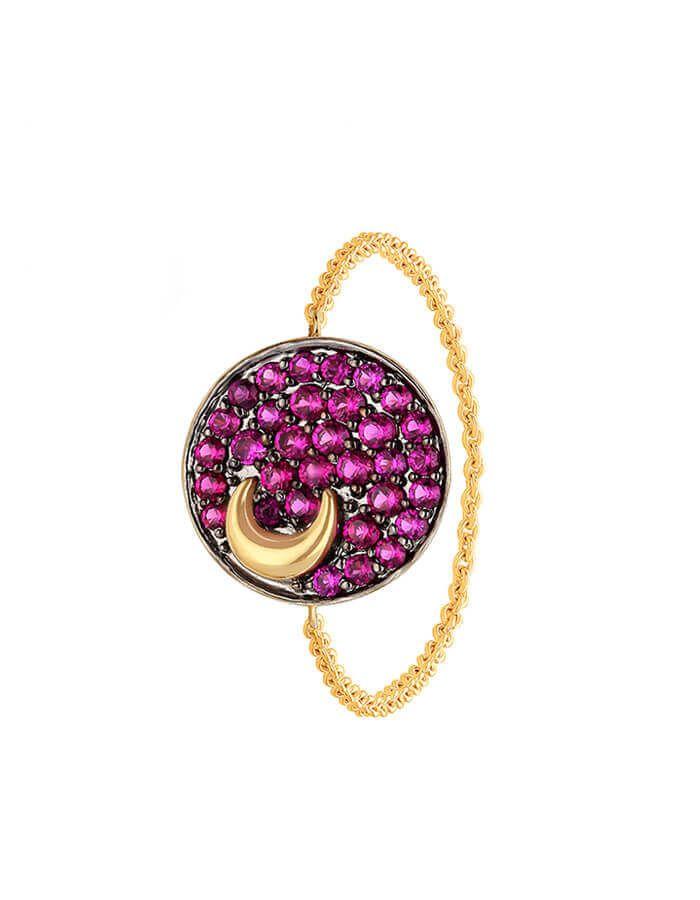 خاتم عالمي الوردي، من الذهب الأصفر عيار 18 قيراط وأحجار الياقوت