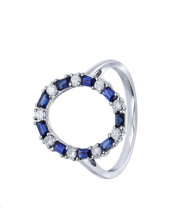 الخاتم الدائري من العقيق الأزرق من الذهب الأبيض والألماس